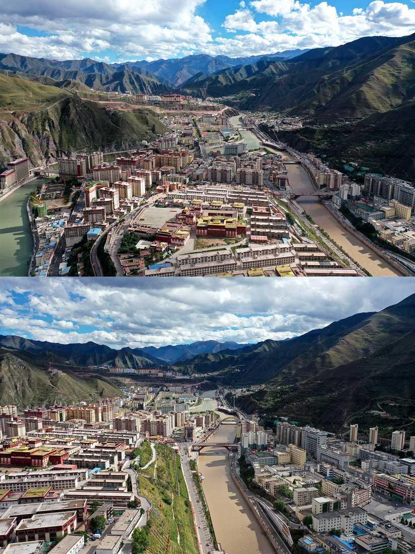 昌都市景色(10月7日攝,拼版照片)。新華社記者 詹彥 攝