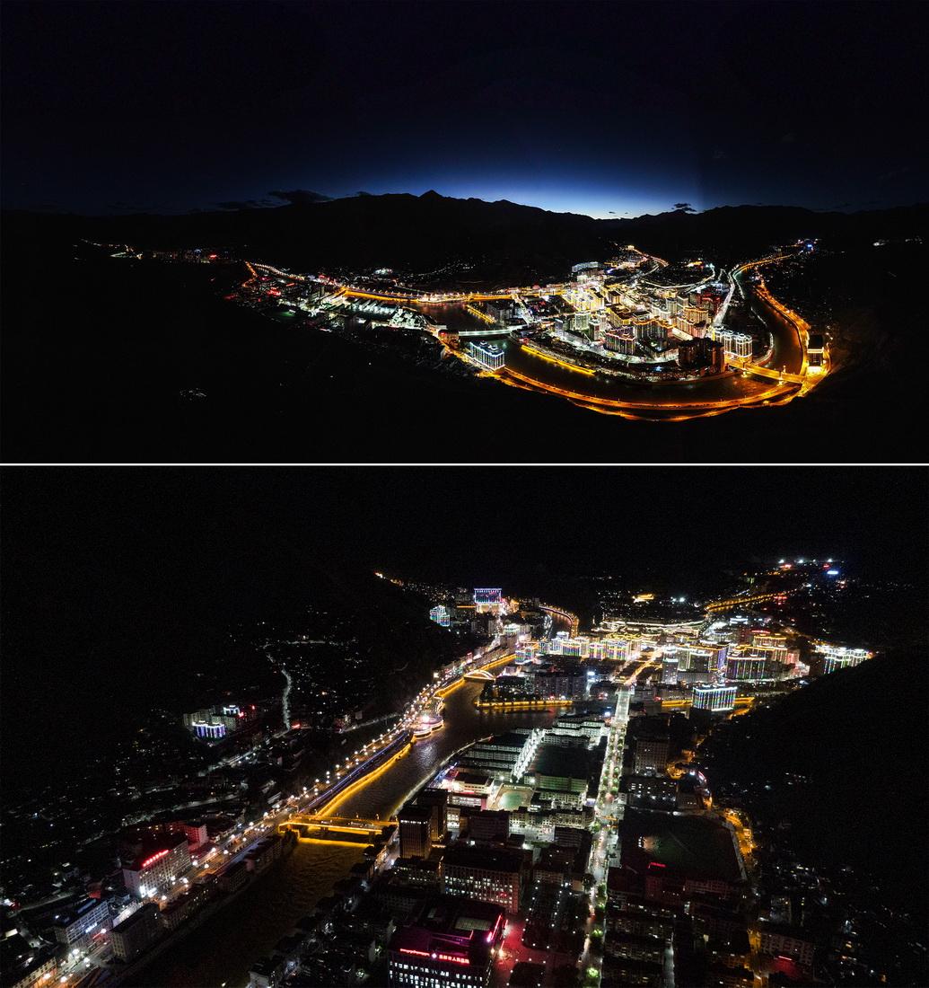 昌都市夜景(10月7日攝,無人機照片)。新華社記者 晉美多吉 攝